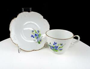 "ENGLISH PORCELAIN ESTHER LEEDS HAND PAINTED 2 3/8"" CUP AND SAUCER SET"