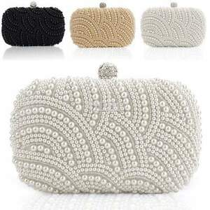Image Is Loading Satchel Handbag Pearl Beaded Women Clutch Bag Party