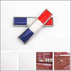 2 x car both side fender tank cover metal france flag emblem logo sticker badge ebay. Black Bedroom Furniture Sets. Home Design Ideas