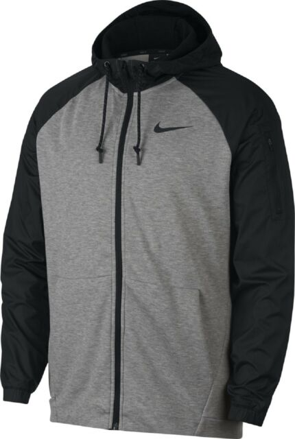 Nike Dry Men's XL Utility Core Full Zip Athletic Hoodie Jacket Gray Black AH6244