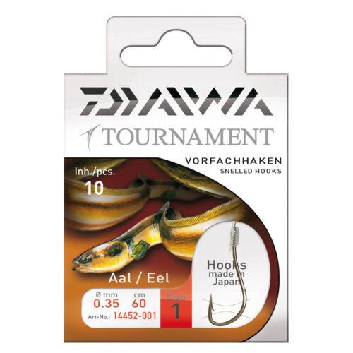 Angelhaken 6 Größen angeln Daiwa Tournament Aalhaken Vorfachhaken 60cm 10Stk