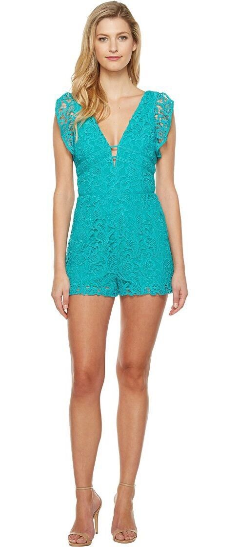 a745fdfae6c3 Adelyn Rae NEW bluee Seafoam Crochet Lace Large L Flutter-Sleeve Romper