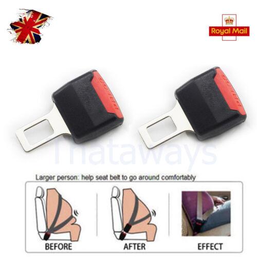 2pcs Car Interior Safe Belt Buckle Clip Plug Extender Safety Alarm Stopper Black