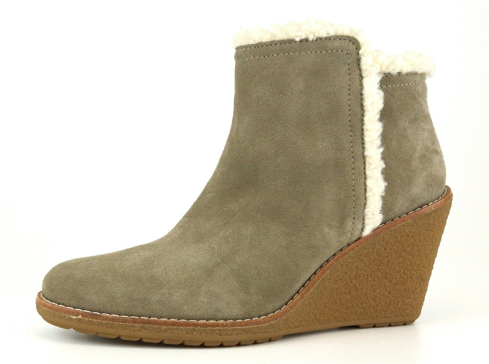 Cole Haan Michelle Faux Fur Lined Wedge Suede Bootie Grigio Donna Sz 11 B 5607 *