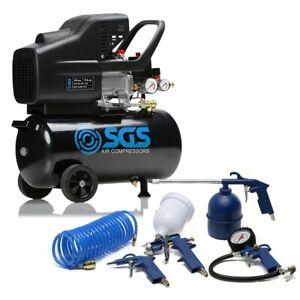 SGS 24 Litre Direct Drive Air Compressor & 5 Piece Tool Kit - 9.6CFM, 2.5HP, 24L