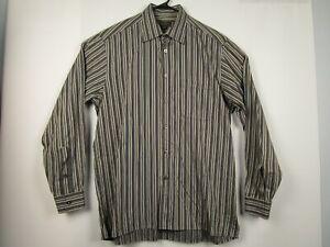 Mens-Ermenegildo-Zegna-XL-Cotton-Striped-Long-Sleeve-Button-Front-Casual-Shirt