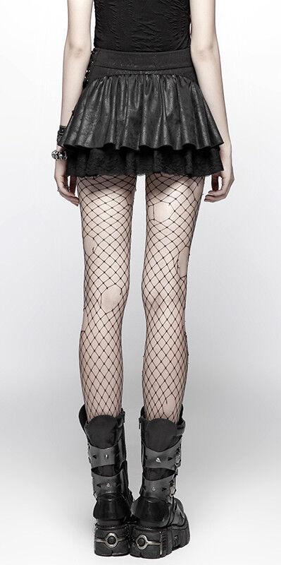 Mini Mini Mini jupe steampunk gothique punk lolita volant dentelle serpent lacé PunkRave N aeea53