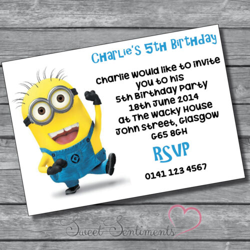 Despicable Me Minions Personalised Birthday Party Invite Thank You Card Note 12