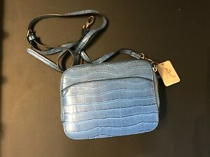 BNWT-ACCESSORIZE-BLUE-BOX-BAG-HANDBAG-LONG-STRAP-OPTION