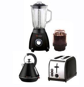 Matching Kitchen Set 1.8L Electric Kettle Bagel Toaster Blender & Grinder BLACK