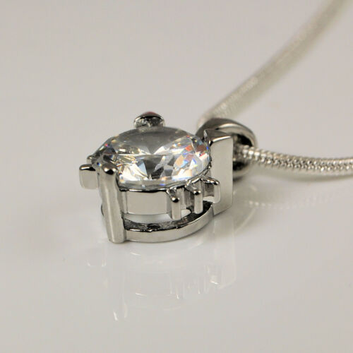 925 Silver Plt Cute Cat Kitten Head Pendant Clear CZ Zirconia Necklace Chain 304