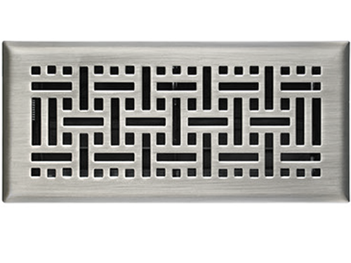 Satin Nickel Wicker Floor Registers Multiple Sizes