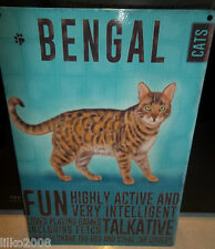 "BENGAL PEDIGREE CAT 12""X 8"" MEDIUM METAL SIGN 30X20CM WITH CHARACTER DESCRIPTION"