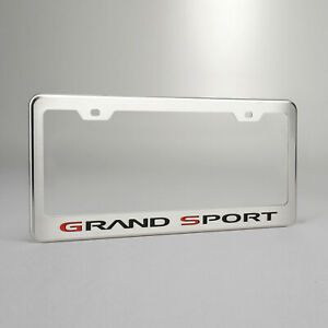 """Polished Stainless Steel Plate Frame w///""""Grand Sport/""""/&Brushed Face for Chevy"""