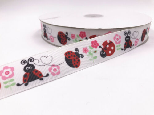 DIY 5 Yard 1/'/' 25MM ladybug Printed Grosgrain Ribbon Hair Bow Sewing Ribbon