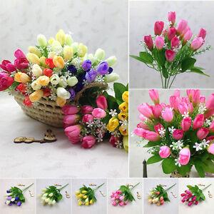1 Bukett 15 Köpfe Tulpe Künstliche Blumen Kunstseide+Plastik Hochzeit Wohndeko