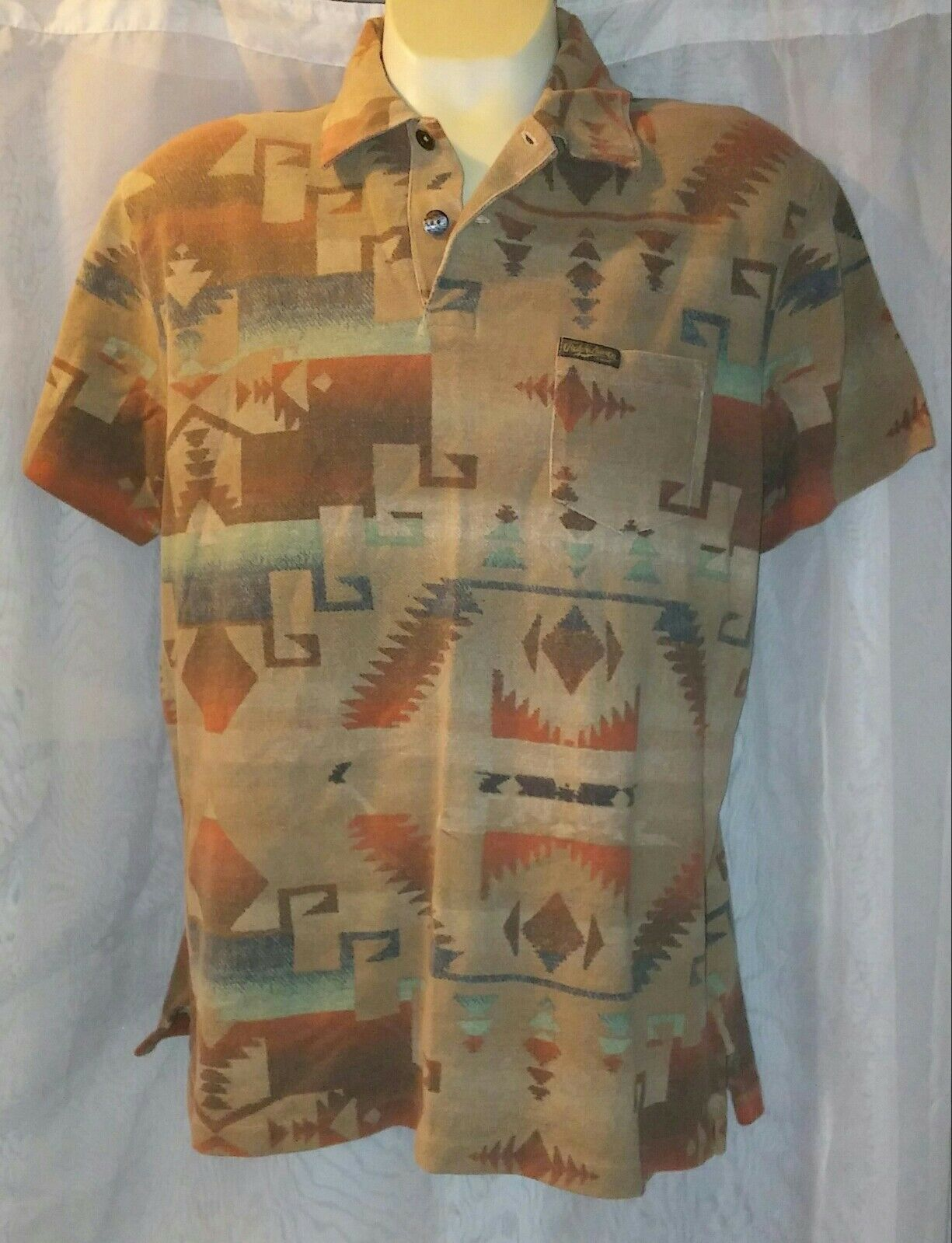 NWT Rare Vintage Polo Ralph Lauren Tribal Aztec Navajo Beacon Print Shirt sz XL