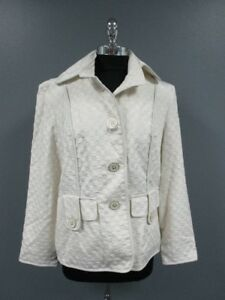 ST-JOHN-White-Long-Sleeves-Button-Front-Collar-Causal-Jacket-NWT-Sz-L-DD2985