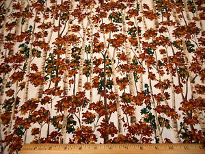 Scenic-Fabric-1-Yard-Brown-Tan-Green-Trees-on-Ivory-Quilting-Cotton