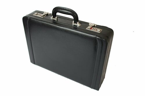 Attache Briefcase Leather Look Pu Pilot Case Expanding Executive Business 6923