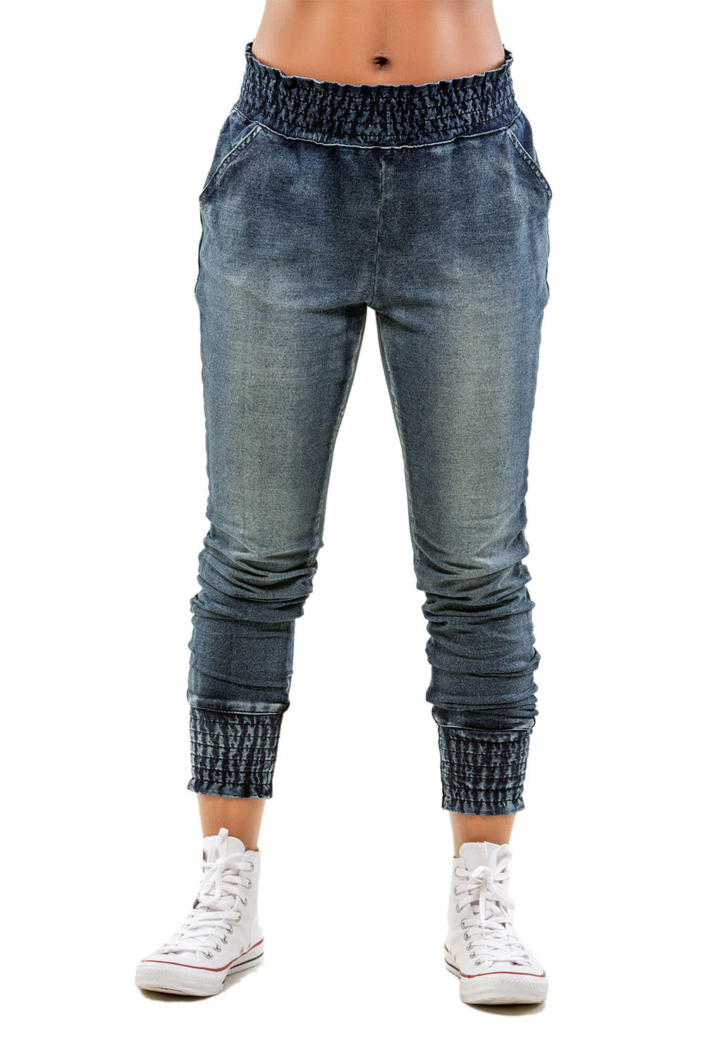 Poetic Justice Curvy Women's Frosted Wash French Terry Knit Denim Jogger Pants