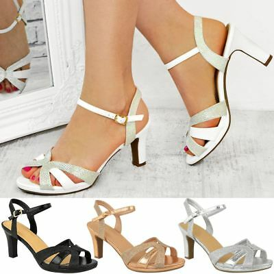 Womens Ladies Mid Block Heel Strappy Sandals Wedding Glitter Bridal Party Size | eBay