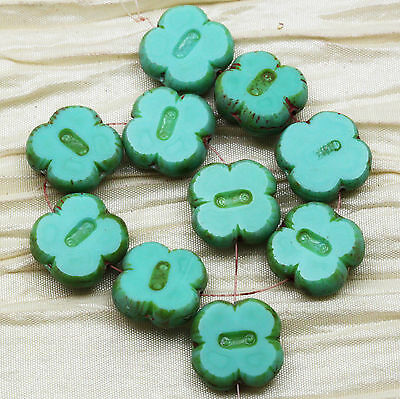 10pcs 12mm CARVED 4-LEAF CLOVER /PICASSO CZECH GLASS BEADS - select your color!