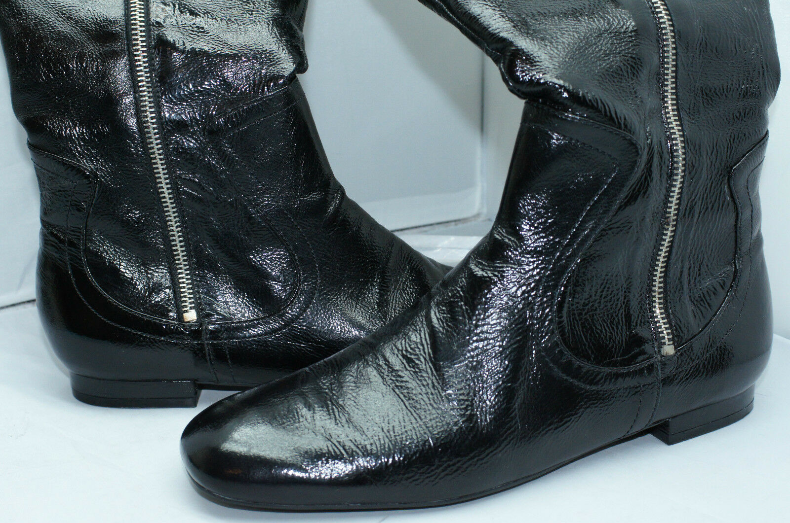 New Guess Boots Vivianna Black Size 8.5 Knee High Patent Leather