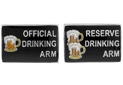 Official Reserve Drinking Arm Pair Cufflinks Wedding Gift Box & Polishing Cloth
