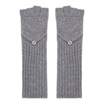 New Ladies Pure Cashmere Long Gloves | Black - Grey