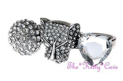 Unusual Puma Cheetah Leopard Wild Cat Heart 3 Finger Ring w/ Swarovski Crystals
