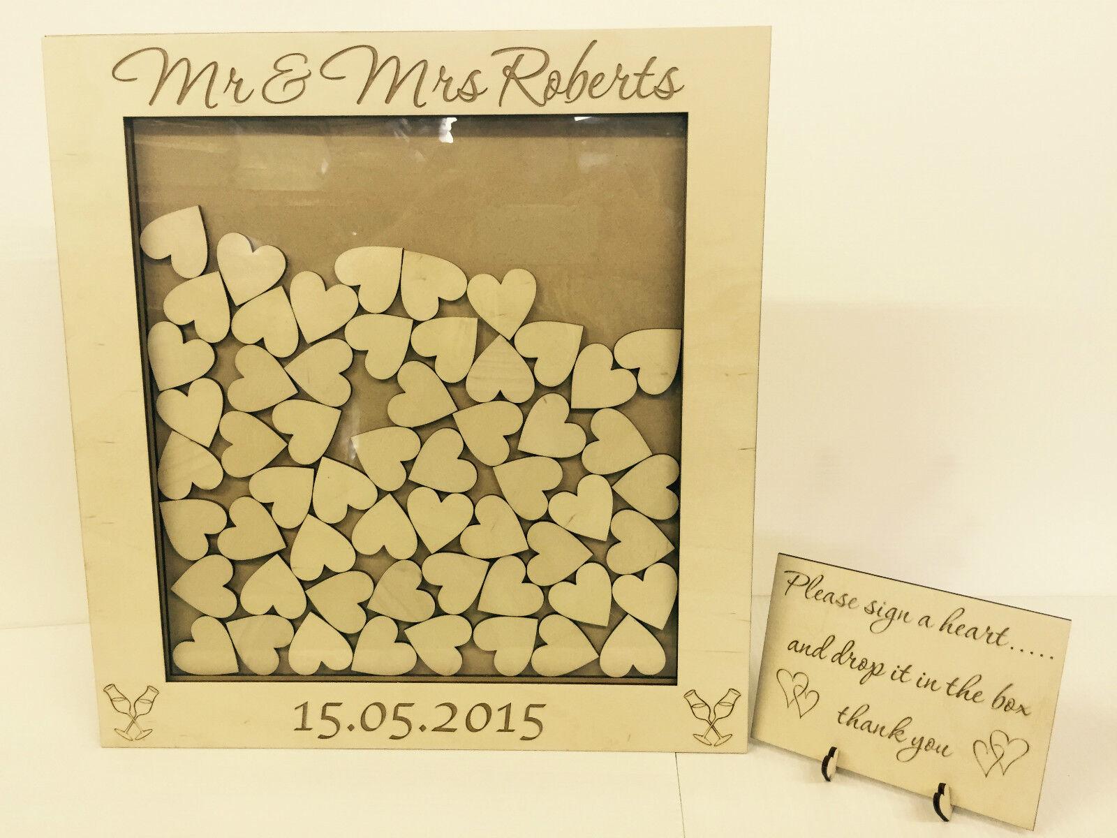 Personalizado De Boda Libro De Visitas Con Colgante 144 en forma de corazón caja de madera de 144 Colgante Corazones Recuerdo Regalo 6b7534