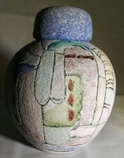 Miniature Southwest Sandstone Hand Painted VASE & LID Urn Vessel UNIQUE