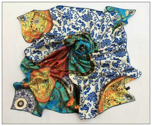 """Extra Large Silk Scarf 43/""""x43/"""" Blue and White Theme Plates Print DFD008"""