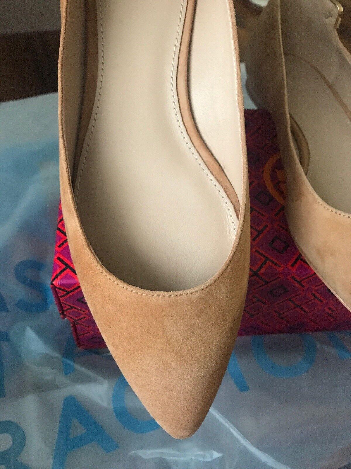 BRAND NEW IN IN IN BOX TORY BURCH  ELIZABETH SUEDE  BALLET FLAT  SIZE 7.5 42a580