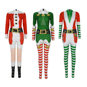 Women-039-s-Christmas-Costume-Cosplay-Party-Outfit-Long-Sleeves-Bodycon-Jumpsuit