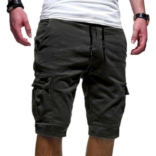 Men/'s Summer Knee Length Elasticated Waist Cargo Combat Shorts Casual Trousers