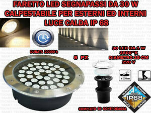 5-FARI-INCASSO-LED-30W-ESTERNO-LUCE-CALDA-SEGNAPASSO-CALPESTABILE-IP-68-GIARDINO