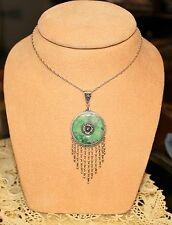 Sterling Necklace w/ Jade Round Disk and Beautiful Dangling Seed Pearls