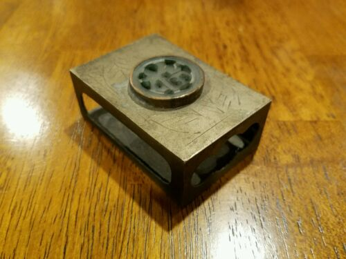 Antique handmade Japanese carved Jade and bronze match holder