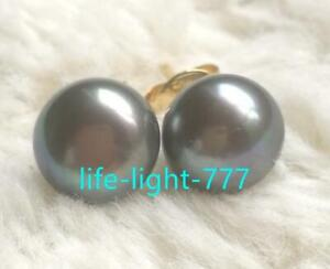 wholesale-real-AAA-Natural-Tahitian-11mm-Black-stud-pearl-earrings-14k-Gold