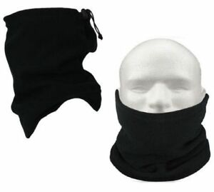 Black Neck warmer Thermal Polar Fleece Snood Scarf Hat Ski Wear Men Ladies Unise