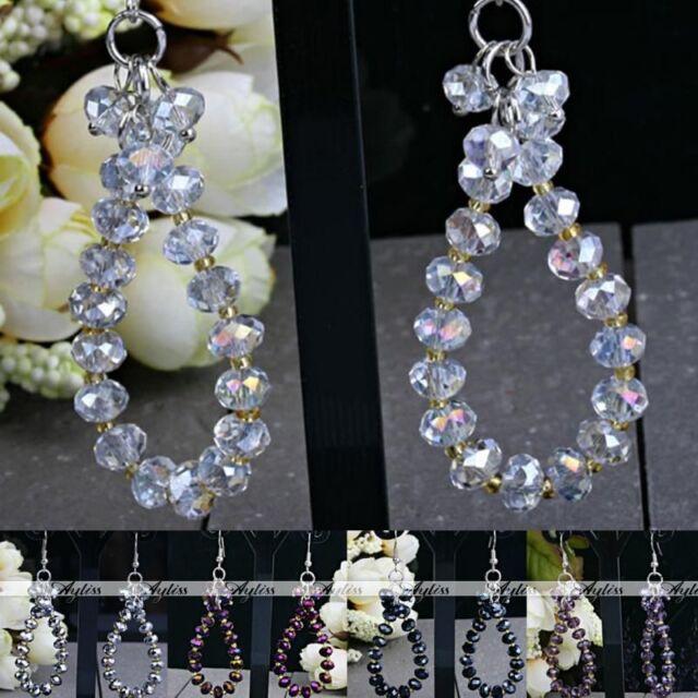 Nickle Free Teardrop Crystal Glass Faceted Bead Dangle Hook Earring Jewelry-FQ