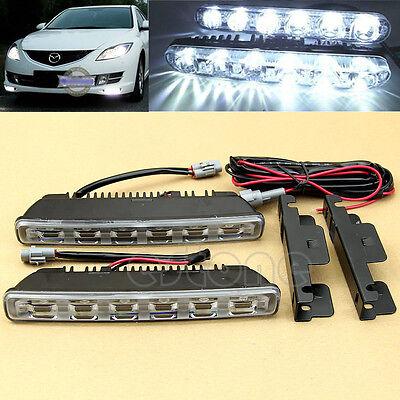 2X 6LED White Car Driving Lamp Fog 12V Waterproof DRL Daytime Running Lights New