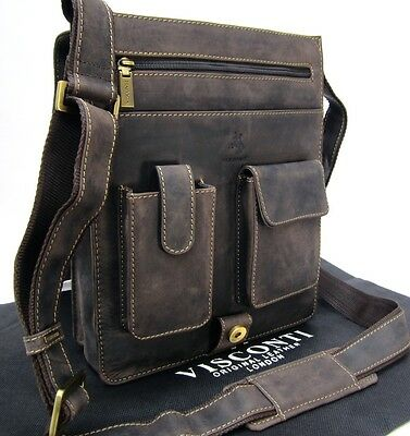 Real Leather Messenger Shoulder Bag Visconti Hunter Brown New Large 18410