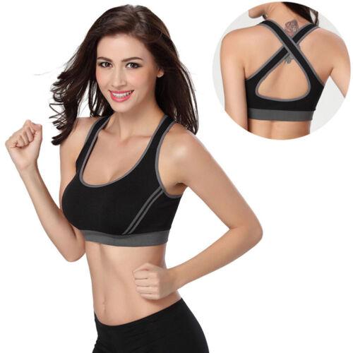Women Sport Bra Gym Yoga Padded Running Fitness Tops Tank Workout Zipper Stretch