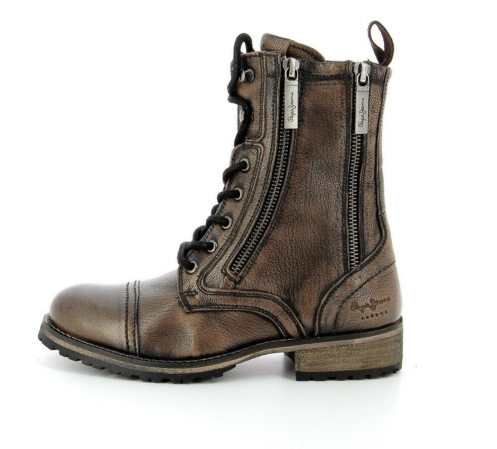 shoes PEPE JEANS MELTING brown PLS50289 en CUIR NEUVES