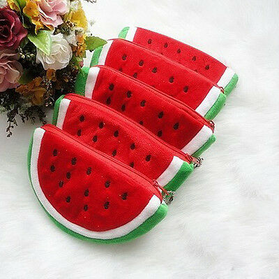Cute Girls Little Watermelon Portable Zipper Coin Purse Wallets Case Plush Bag