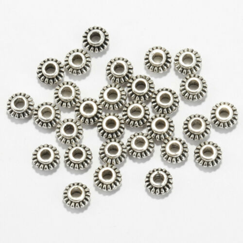 100pcs 6mm Wheel Gear Tibetan Silver Spacer Beads Findings For Jewelry BY
