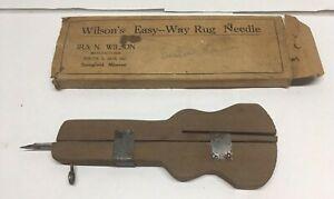 Antique-Wilson-s-Easy-Way-Rug-Needle-with-Original-Box
